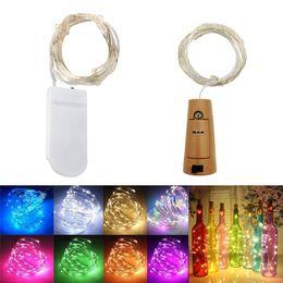 2m 20led Garrafa de vinho corda luzes de cortiça alimentado estrelado DIY luz de Natal para o partido halloween casamento decoração em Promoção