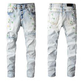 Yüksek Kaliteli Erkek Kot Pantolon Sıkıntılı Motosiklet Biker Jean Kaya Kaya Skinny Slim Yırtık Delik Şerit Moda Yılan Nakış Kot Pantolon