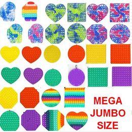 Großhandel 10 teile / dhl Mega Jumbo Zappeln Blase Poppers Board Rainbow Tie Dye Push Pop Finger Spaß Spiel Stress Relief Puzzle mit Karabiner Schlüssel Ring Autismus Sonderanforderungen H4237HX