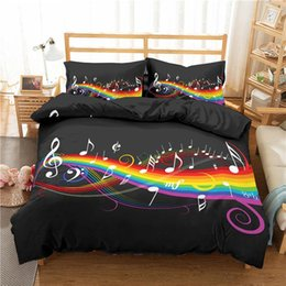 musical bedding sets UK - Home Textile Luxury 3D Musical Note Print 2 3Pcs Comfortable Duvet Cover PillowCase Bedding Sets Queen And King EU US AU Size