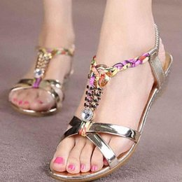 Colorful Plats Sandals Women Reflective Rhinestone Shoes Woman Summer Flat Elegant Flip Flops Plus Size Daily Wear G3 W8ob#