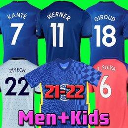 Chelsea CFC KANTE ABRAHAM MOUNT LAMPARD ODOI JORGINHO PULISIC camisa de futebol 2020 2021 GIROUD ZIYECH HAVERTZ camisa de futebol 20 21 homens + crianças kit em Promoção