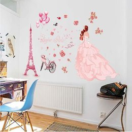 tower wallpapers UK - European Wallpaper PVC Removable Wedding Girl Pink Eiffel Tower Self Adhesive Wall Stickers Home Decor Living Room Wallpapers