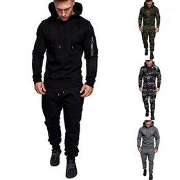 two piece sweatpants UK - Men's Harajuku Costum Any Tracksuit Army Green Two Pieces Sets Hoodies+Sportswear Pants Suits Male Sweatpants Coats1