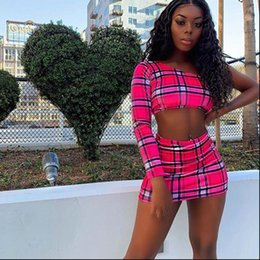 ingrosso abiti rosa-Donne Tracksuits Pink Sexy Plaid Plaid Stampa a due pezzi Gonna Set Set Crop Top e Set di abbinamento Summer Club Outfits Festival