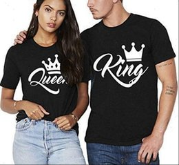 Discount couple t shirt printing Womens T Shirt King Queen Print Couples Crown Couple Clothes Summer Women Casual O neck Top Love Tee Female