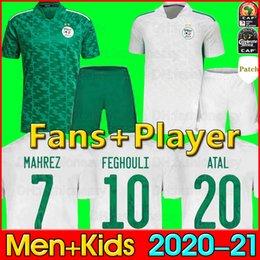 venda por atacado 2020 2021 Camisa de futebol da Argélia MAHREZ FEGHOULI BENNACER ATAL 20 21 Camisa de kits de futebol de futebol da Argélia Fãs jogadores versão masculina e infantil