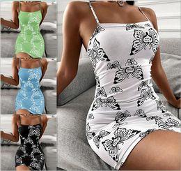 Toptan satış Kelebek Baskı Seksi Camis Sıkı Elbise Plaj Etekler Tatil Etek Yaz Kadın Günlük Elbiseler