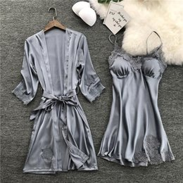 Wholesale kimono sleep for sale - Group buy Summer Night Women Sleepwear Robe Sexy Pc Strap Top Suit Sets Casual Pajamas Home Wear Nightwear Sleep Kimono Bath Gown