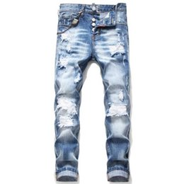Wholesale fly cars resale online - Brand European And American Fan Car Jeans Men s Slim Trousers Denim Zipper Black Hole Pencil Pants Jean