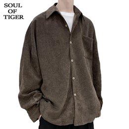 mens oversized clothing UK - TIGER Spring European Luxury Tops Male Casual Corduroy Shirts Mens Vintage Loose Blouses Oversized Clothes Plus Szie Men's