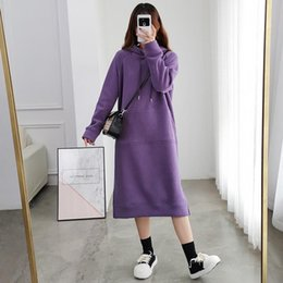 Wholesale russian fashion dresses for sale - Group buy Russian Winter Women s Knitted Hoodie Dress Fashion Casual Streetwear Plush Warm Sweater Brand Velvet Dresses