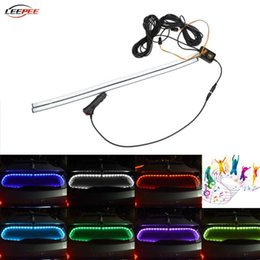 wireless car accessories Canada - Car RGB Flashing Mood Ambient Lights Strip Brake Signal Lamp Rear Windshield Decoration Kit Wireless Sensor Auto Accessories Interior&Extern