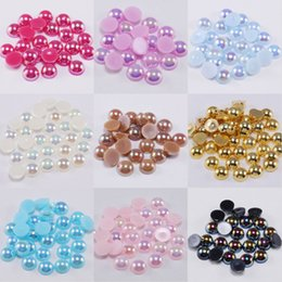 Wholesale 2 3 4 5 6 8 10 12 14 MM Acrylic ABS Beads Pearl Imitation Half Round Flatback AB Colors Bead For Jewelry Making DIY Accessories 805 T2