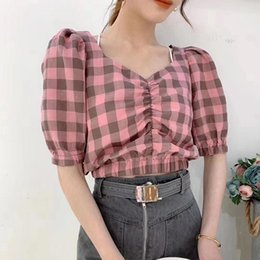 color blocked shirt 2021 - Vintage Plaid Blouses Shirt Women 2021 Color Block Casual Cool Elegant Puff Sleeve V Neck Chic Short Blouse Tops Female Blusas Women's & Shi