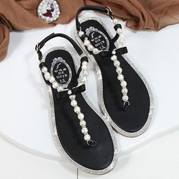 Discount white pearl ankle strap shoes Women Sandals 2021 Summer Shoes Flat Pearl Comfortable String Bead Beach Slippers Casual Pink White Black