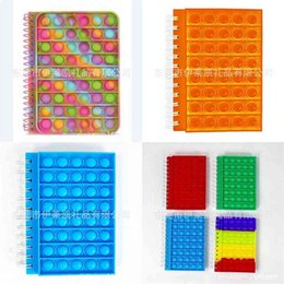 Tie Dye Rainbow Fidget Spiral Notebook A5 Push Pop Bubble Cover Notebooks School Stationery Kids Girls Boys Christmas Gift Toys Sensory Stress Ball Puzzle G80ZH05 on Sale