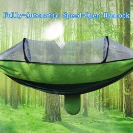 Discount outdoor tent pink Portable Outdoor Camping Hammock With Mosquito Net High Strength Parachute Fabric Hanging Bed Hunting Sleeping Swing Tents And Shelters