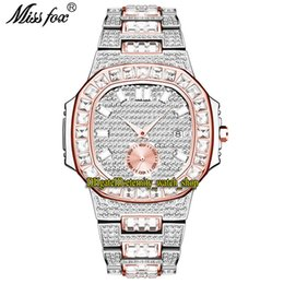 ice blue roses Canada - MISSFOX eternity V299 Hip hop Fashion Mens Watches CZ Diamond inlay Dial Quartz Movement Men Watch Iced Out Big Diamonds Rose Gold Bezel Alloy Case Silvery Bracelet