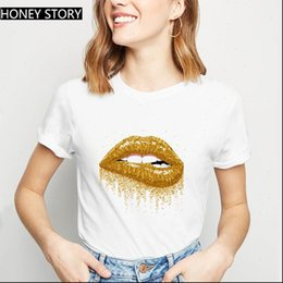 Discount golden women t shirt Sales Harajuku Shiny Golden Lips Women T Shirts Graphic Cartoon Grunge Fashion Ullzang Tops Tee Femme
