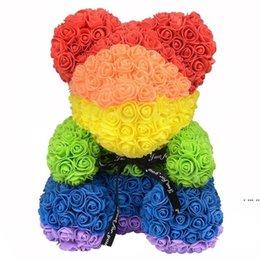 40 cm Dropshipping Bear levantou-se com coração grande vermelho teddy flor decoração artificial presentes de natal para mulheres Valentinessea Navio presente HWD6278 em Promoção