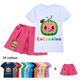 Wholesale summer cloths resale online - 2021 Summer girls designers T shirt and skirt set two piece cocomelon cartoon dress suit sweat shirt tops short pleated skirts sportswear casual cloth G49O9QY