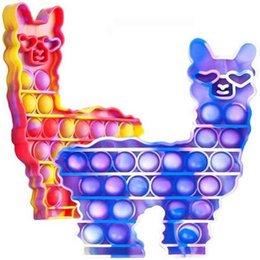 Tie Dye Pioneer Alpaca Hidget Spinner Игрушки Push Poo-его пузырь Popper силиконовый мультфильм животных формы игрушка стресс рельефная игра G50FH7L на Распродаже