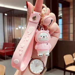 Cartoon Creative Sweater Bear Keychain Bag Pendant Cute Soft Animal Doll Accessories Car Key Chain Ring For Men Women on Sale