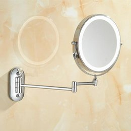 wall mounted lighted makeup mirror UK - Inch Make-up Mirror With Light Makeup 10X Magnifying 2-face Touch Dimming LED Lights Rechargeable Wall-mounted Vanity