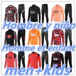 Kids + Homens Adultos 20 21 Futebol Treinamento Tracksuit Futebol Tracksuits Terno 2021 2022 Chandal Jacket Jogging Kit em Promoção