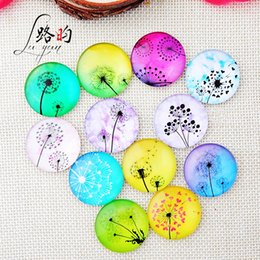 Wholesale 8mm 10mm 12mm 14mm 16mm 18mm 20mm 25mm Dandelion Round Glass Cabochon Flatback Photo Base Tray Blank DIY Making Accessories 1656 Q2