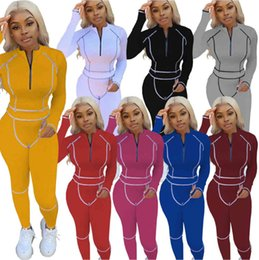 Discount ladies clothes designers designers women tracksuit clothes new womens 2 pieces set tracksuit fashion casual pullover stitching sports suit Ladies jogging suit 9526