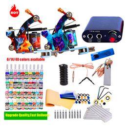 タトゥーキットマシンガン6/14/40カラーインク使い捨て用品ミニ電源セット初級タトゥーキットボディアートツール