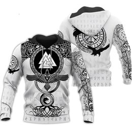Discount men skull tattoos Cosmos Viking Warrior Tattoo New Fashion Tracksuit casual Colorful 3D Print Zipper Hoodie Sweatshirt Jacket Men Women 110-6XL