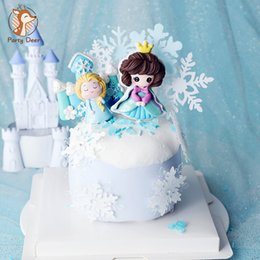 Wholesale ice castles resale online - Blue Ice cartoon Girl Snowflake Castle Little Princess Girls Happy Birthday Cake Topper Princess Kid Party Supplies Love Gifts