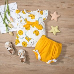 Wholesale cookie clothing resale online - 2Pcs Baby Girls Outfit Summer Cookies Drink Printing Round Collar Sleeve Top Triangle Lace Shorts Children s Clothing Sets