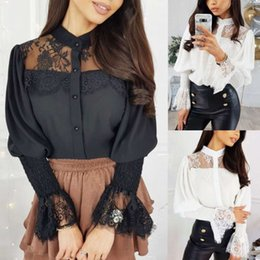 Wholesale see through collared neck shirt resale online - Button Shirts Sexy Tunic Blouses Women Fashion Hollow Out Solid Long Sleeve Stand Collar Lace Shirt Ladies Tops See Through