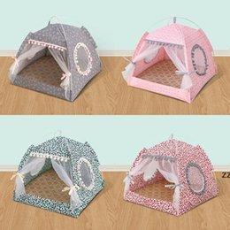 Four Seasons Casas de perros de Moneda Pequeños Perros Cama de peluche Plegable Tienda de Tienda Nest Summer Portátil Portátil Suministros HWF10259 en venta