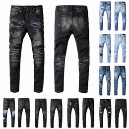 Toptan satış 2021 Erkek Tasarımcı Kot Sıkıntılı Yırtık Biker Slim Fit Motosiklet Bisikletçiler Denim Erkekler Için S Moda Mans Mans Siyah Pantolon 21ss Hommes
