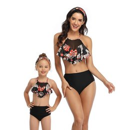 pink bathing suits kids NZ - Family Matching Swimwear Two Pieces Women Kid Girl Swimsuit Bathing Suit Maillot De Bain Feminino High Waist Sexy Bikini Women's