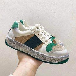 Toptan satış Çocuklar Casual Harfler Şerit Ayakkabı Spor Nefes Açık Sneakers Rahat Erkek Kız Gençler Aktif EUR 26-35 Çocuk Kirli-ayakkabı Moda