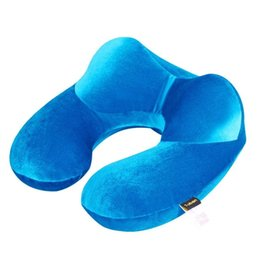 neck air cushion 2021 - Foldable U-shaped Neck Support Pillow Inflatable Cushion Travel Super Soft Air Plane Sleeping Pillows