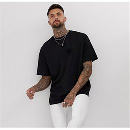 blank long sleeve t shirts 2021 - High Quality Oem 100% Cotton Unisex Hip Hop Blank Oversized Men's T-shirts