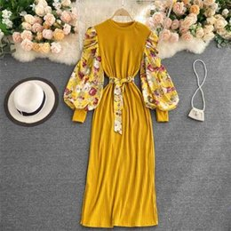 Wholesale long maxi dresses full sleeves for sale - Group buy Slim Long Female Patched Print Full Puff Sleeve Maxi with Chiffon Slash for Woman Dresses