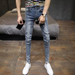 Wholesale young men fashion pants resale online - Fashion Casual Denim Hip Hop Street Skinny Jeans Men Frayed Edging And Rotten For Young Pencil Pants Men s