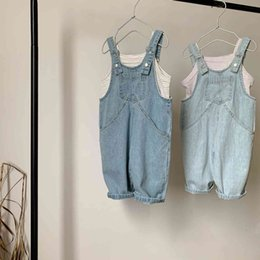 boys jeans straps UK - 2021 Ins New Spring Summer Korean Children's Clothing Boys and Girls Loose Bottom Strap Children Denim Overalls