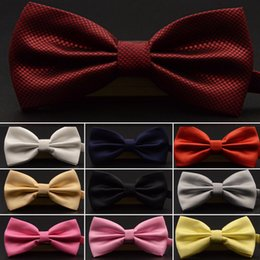 Wholesale black shirt red bow tie resale online - Bow Ties Korean version of British groom and best man Wedding Dress Red Black Plaid Tie suit shirt bow