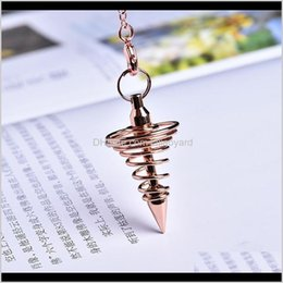 Discount copper cones Pendants 1Pc Metal Amulet Spiral Cone Antique Copper Gold Sier Colored Clock For Pyramid Pendulum Aura Qyltsi Syiq7 J4Aeh