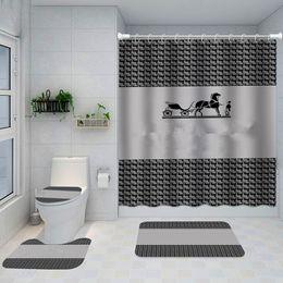 Gedruckt Klassik Design Duschvorhänge Wasserdichte Badezimmer Liefert Multifunktionale Partition Luxus Vorhang Bad Türmatte im Angebot
