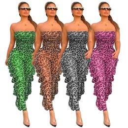 Wholesale draped jumpsuits for sale - Group buy Sheer Mesh Leopard Print Rompers Womens Jumpsuit Off Shoulder Side Ruffles Party Club Outfit Summer Strapless Draped Bodysuits